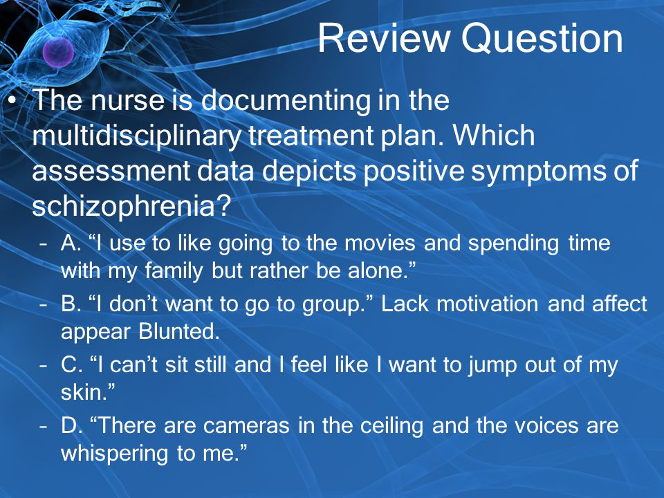 Review Question The nurse is documenting in the multidisciplinary treatment plan. Which assessment data depicts positive symptoms of schizophrenia