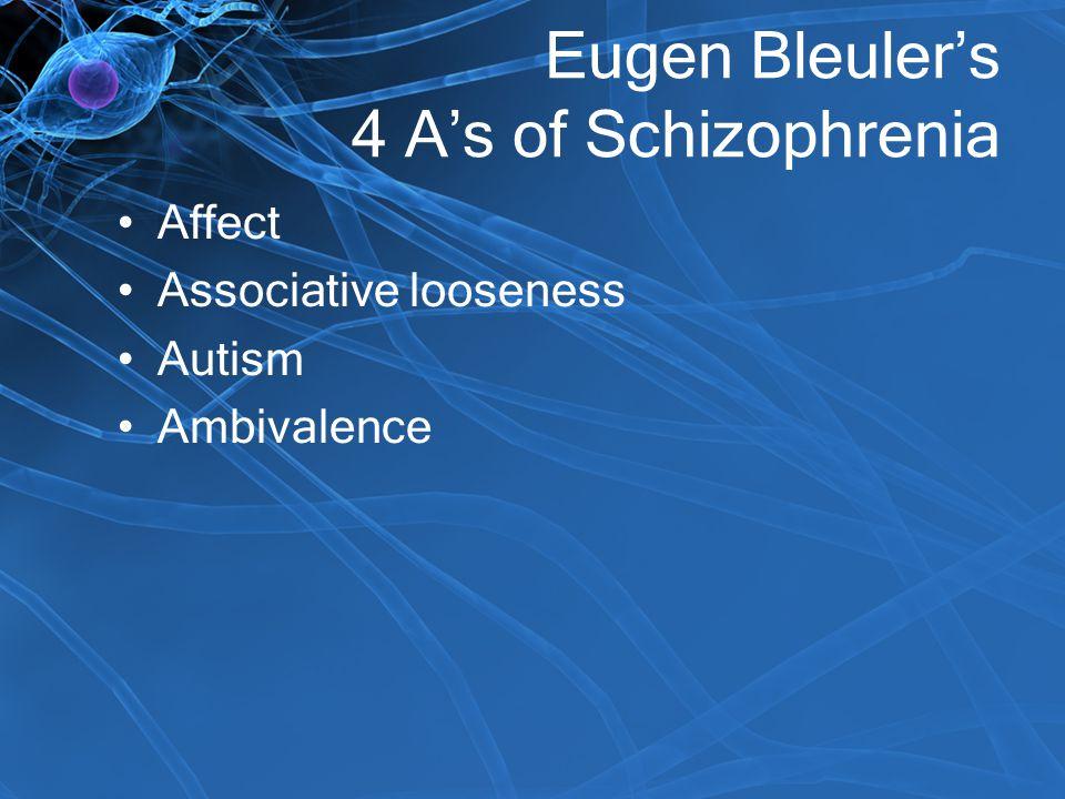 Eugen Bleuler's 4 A's of Schizophrenia