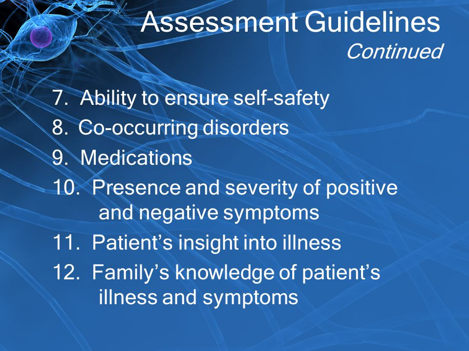 Assessment Guidelines Continued