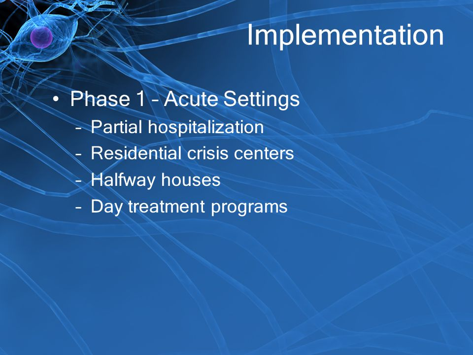 Implementation Phase 1 – Acute Settings Partial hospitalization