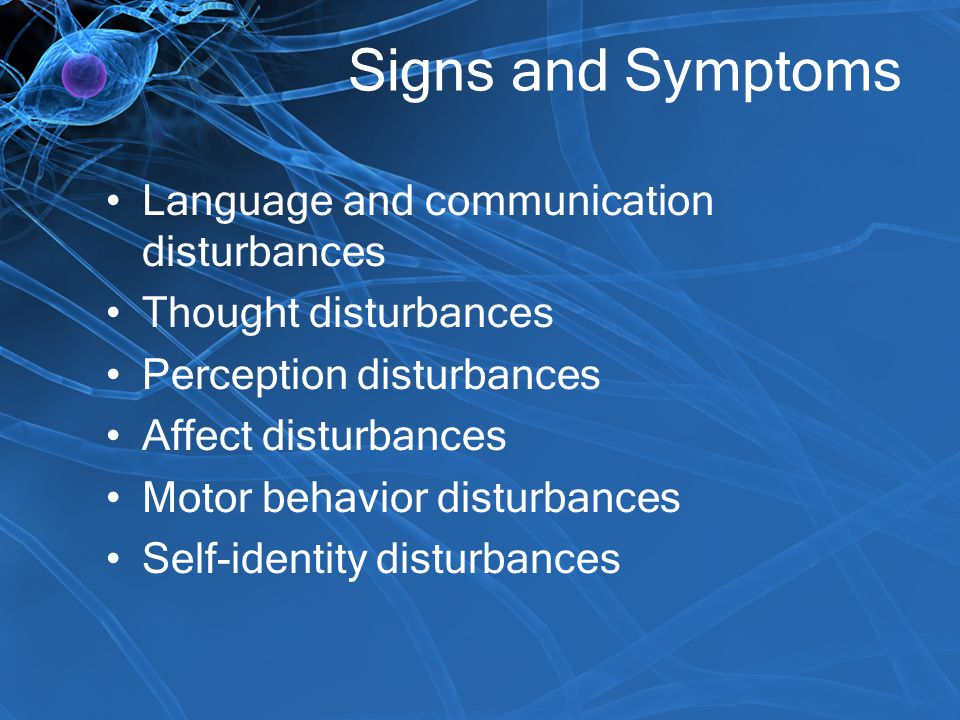 Signs and Symptoms Language and communication disturbances