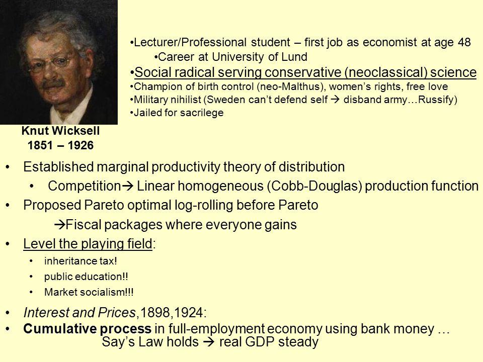 Established marginal productivity theory of distribution