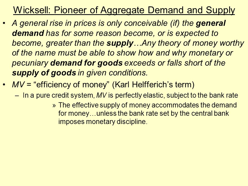 Wicksell: Pioneer of Aggregate Demand and Supply