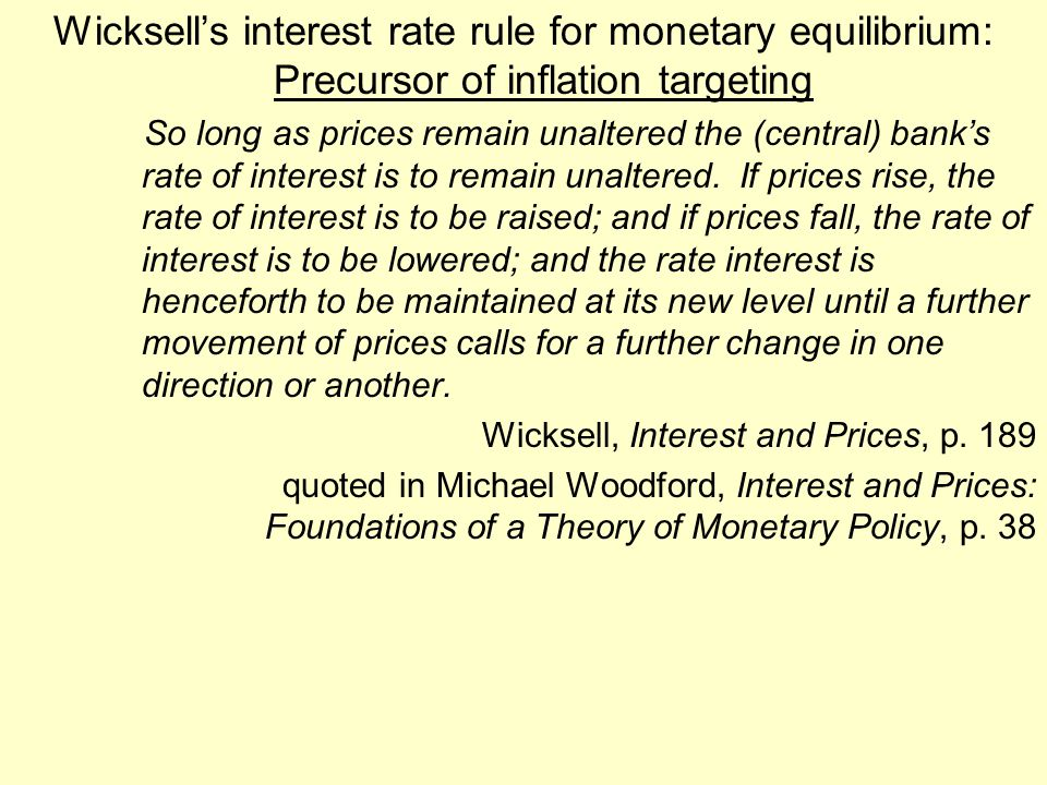 Wicksell's interest rate rule for monetary equilibrium: Precursor of inflation targeting