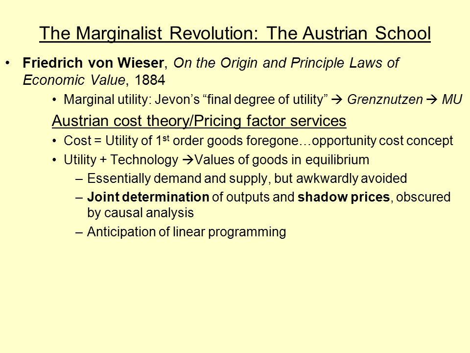 The Marginalist Revolution: The Austrian School