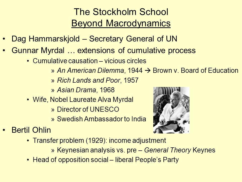 The Stockholm School Beyond Macrodynamics
