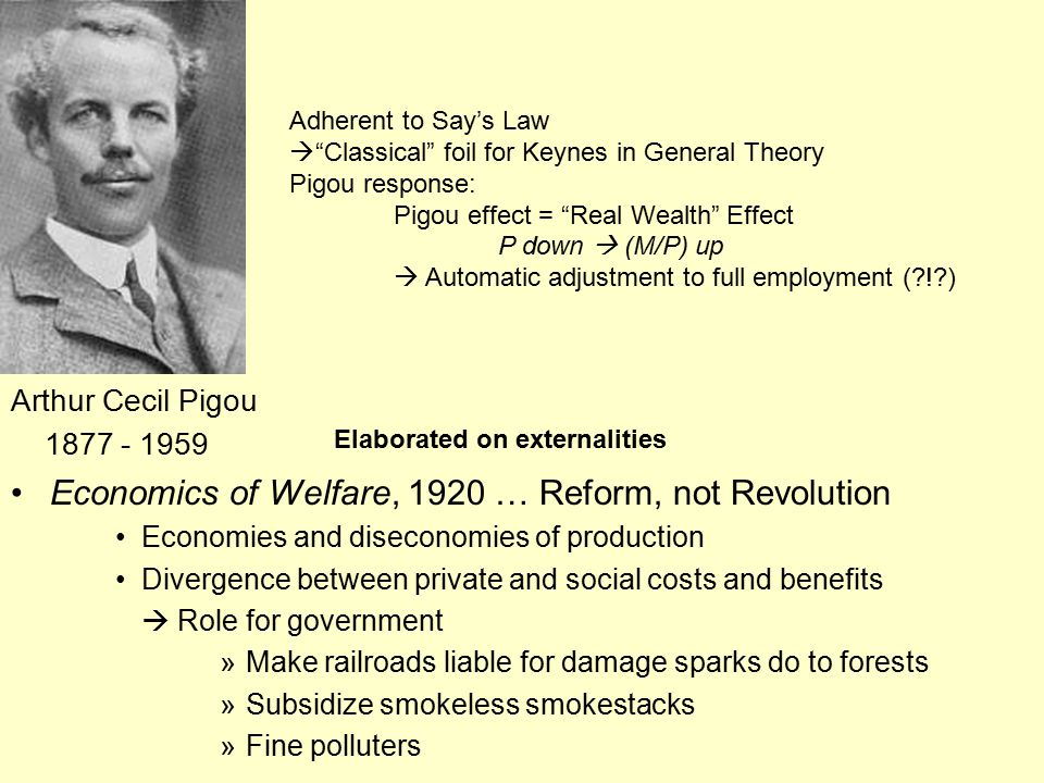 Economics of Welfare, 1920 … Reform, not Revolution