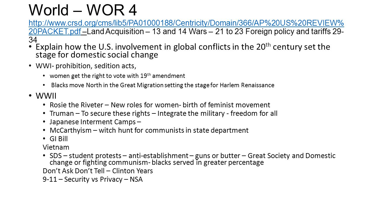 World – WOR 4 http://www. crsd