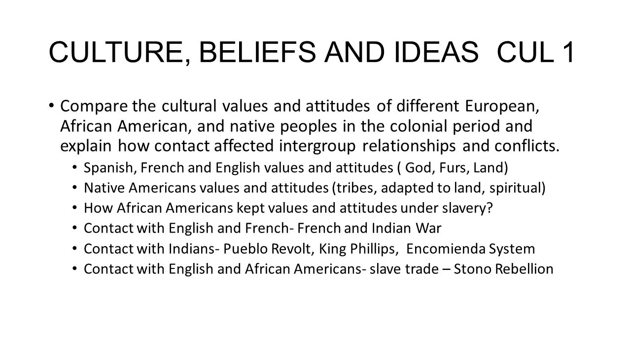 CULTURE, BELIEFS AND IDEAS CUL 1