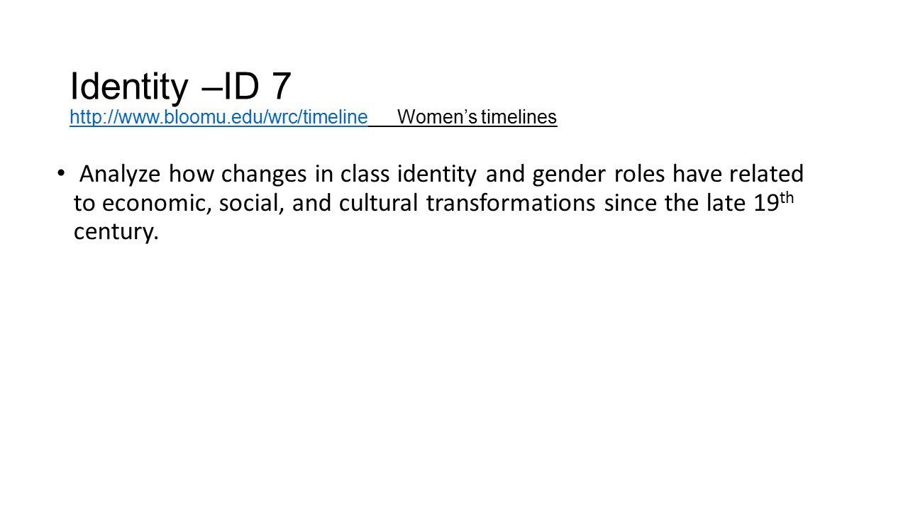 Identity –ID 7 http://www.bloomu.edu/wrc/timeline Women's timelines