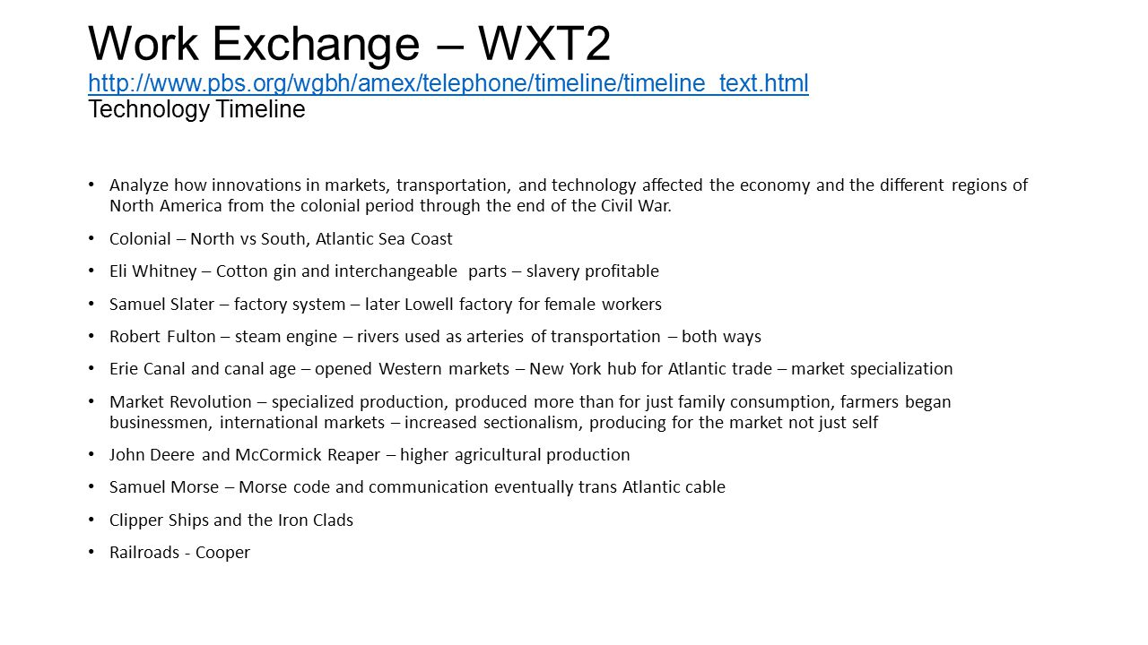 Work Exchange – WXT2 http://www. pbs