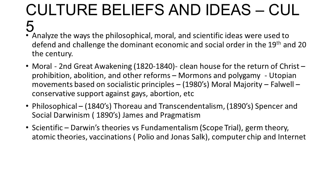 CULTURE BELIEFS AND IDEAS – CUL 5