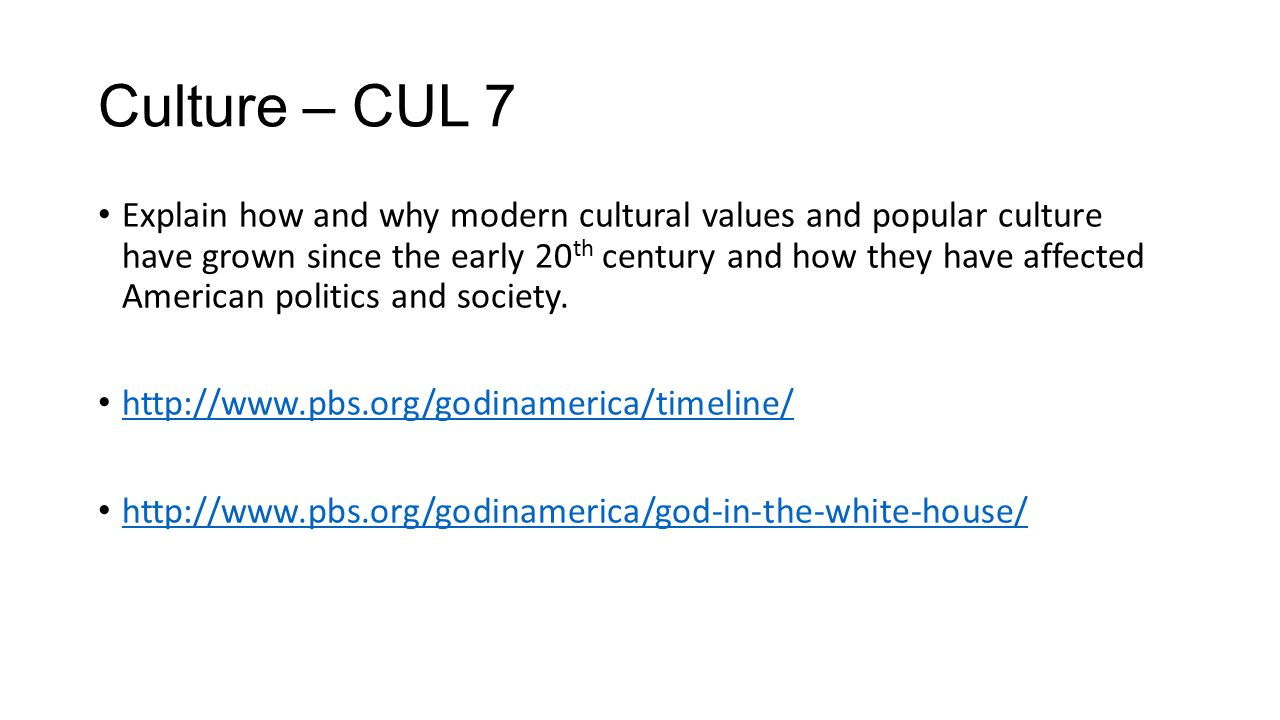 Culture – CUL 7