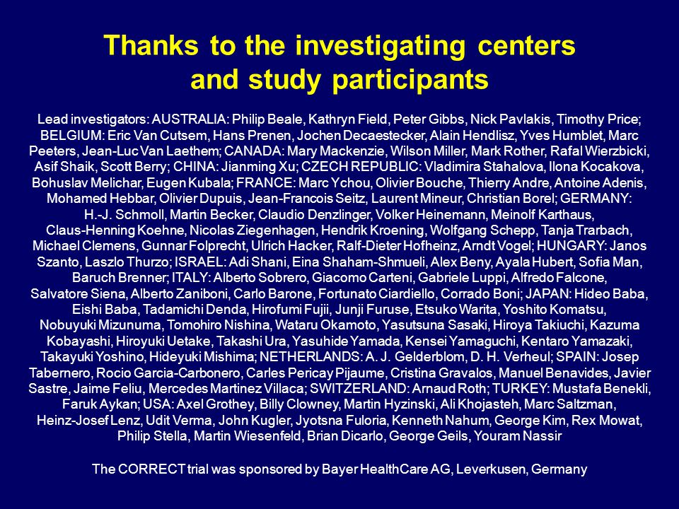 Thanks to the investigating centers and study participants