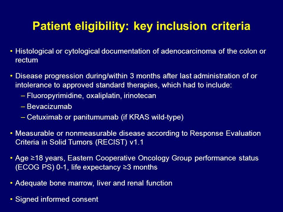 Patient eligibility: key inclusion criteria