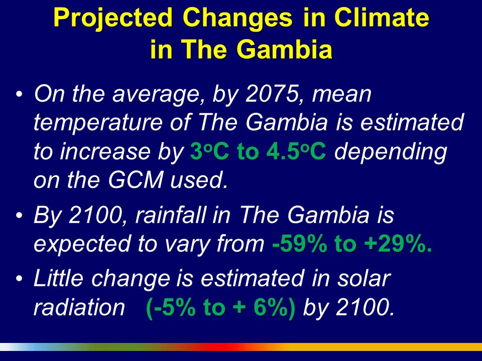 Projected Changes in Climate in The Gambia