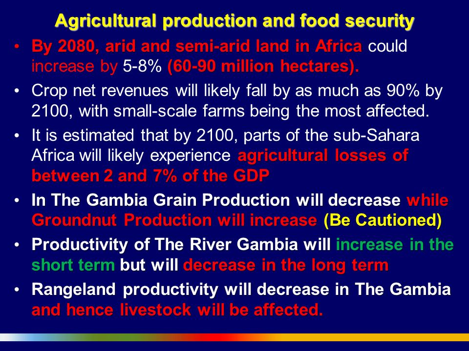 Agricultural production and food security