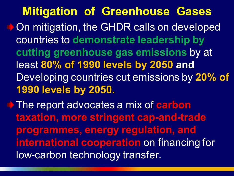 Mitigation of Greenhouse Gases