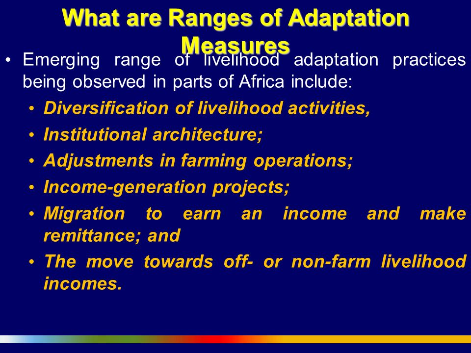 What are Ranges of Adaptation Measures