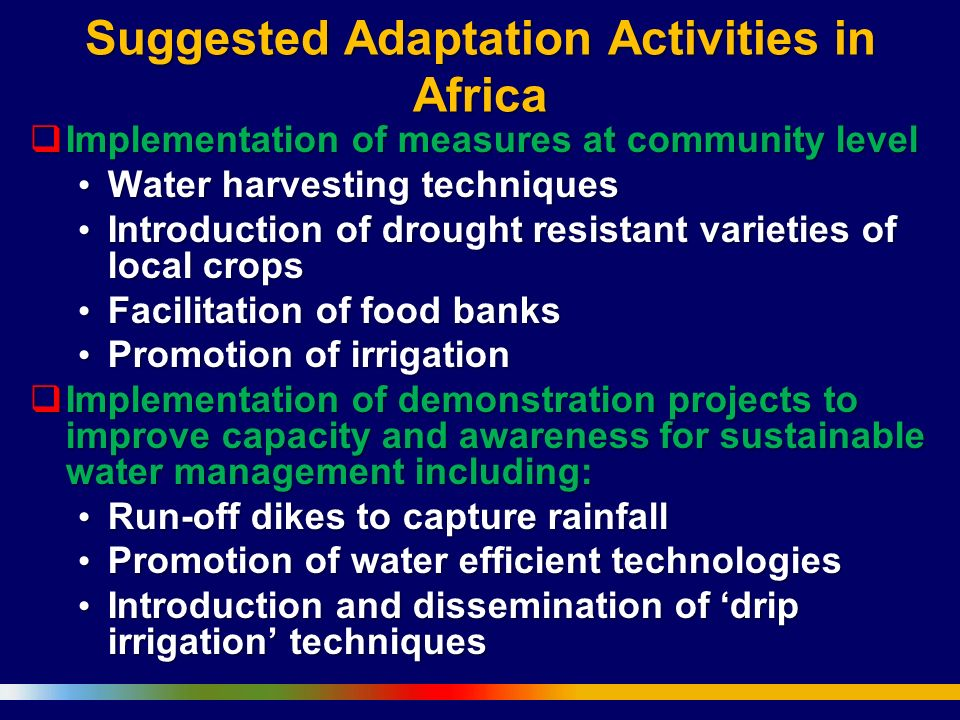 Suggested Adaptation Activities in Africa
