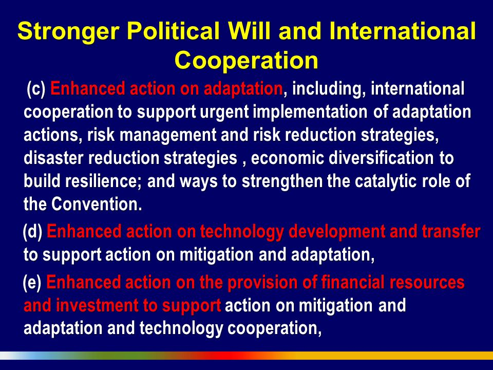 Stronger Political Will and International Cooperation