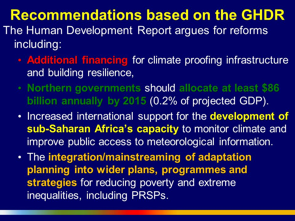 Recommendations based on the GHDR