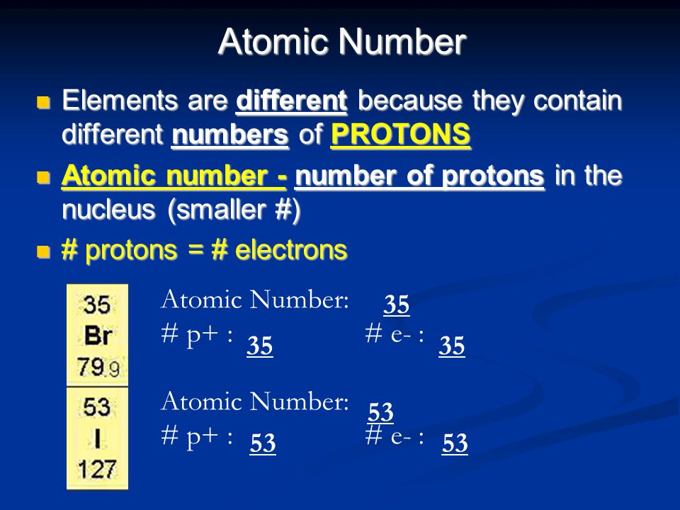 Atomic Number Elements are different because they contain different numbers of PROTONS. Atomic number - number of protons in the nucleus (smaller #)
