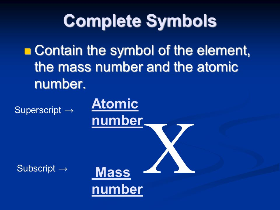 Complete Symbols Contain the symbol of the element, the mass number and the atomic number. Atomic.