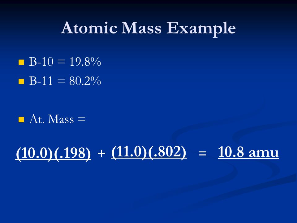 Atomic Mass Example (11.0)(.802) 10.8 amu (10.0)(.198) B-10 = 19.8%