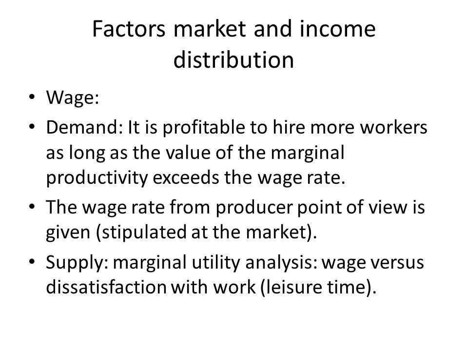 Factors market and income distribution