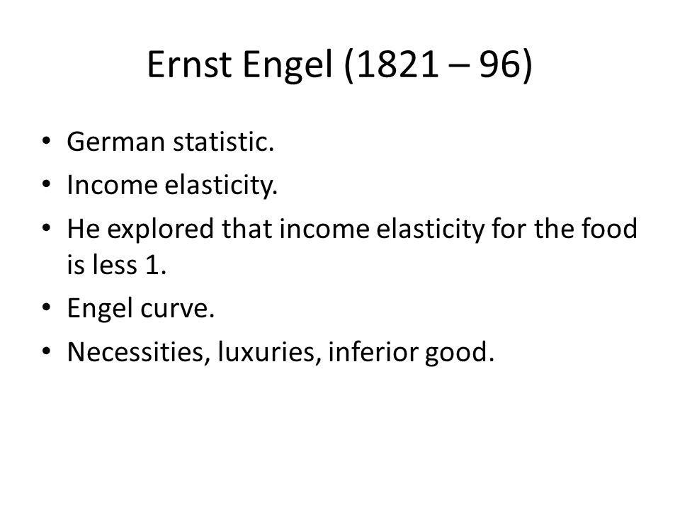 Ernst Engel (1821 – 96) German statistic. Income elasticity.