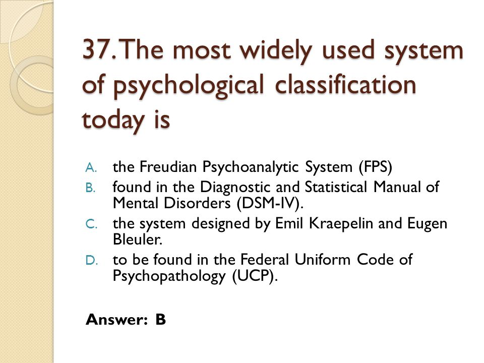 37. The most widely used system of psychological classification today is