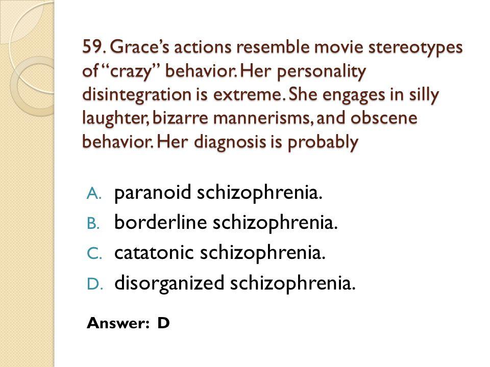 paranoid schizophrenia. borderline schizophrenia.