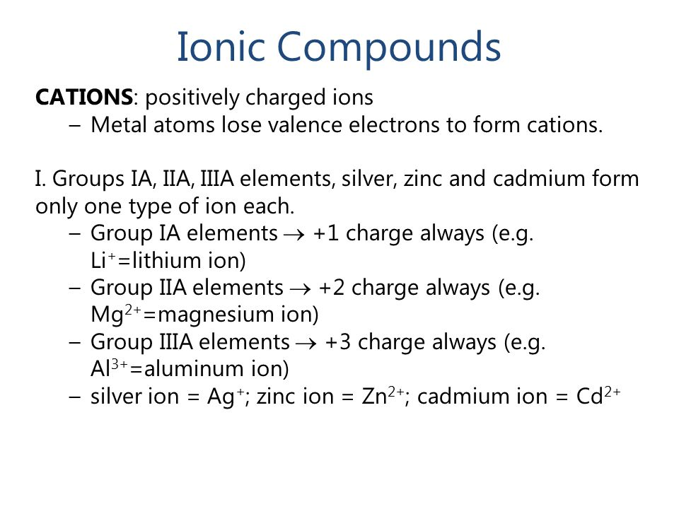 Ionic Compounds CATIONS: positively charged ions