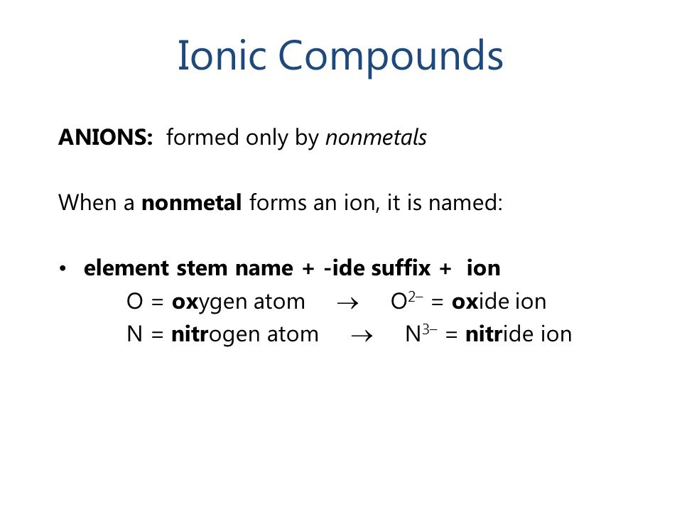 Ionic Compounds ANIONS: formed only by nonmetals