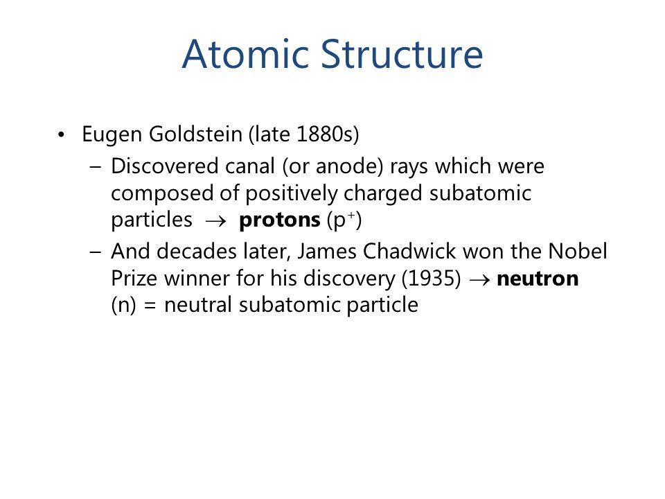 Atomic Structure Eugen Goldstein (late 1880s)