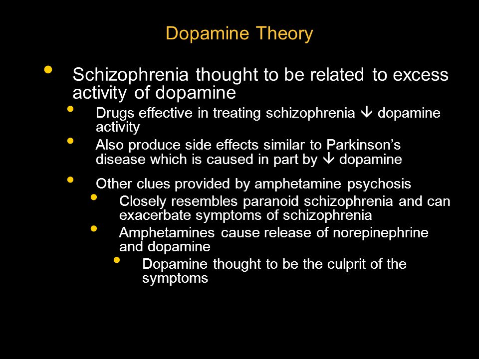 Schizophrenia thought to be related to excess activity of dopamine