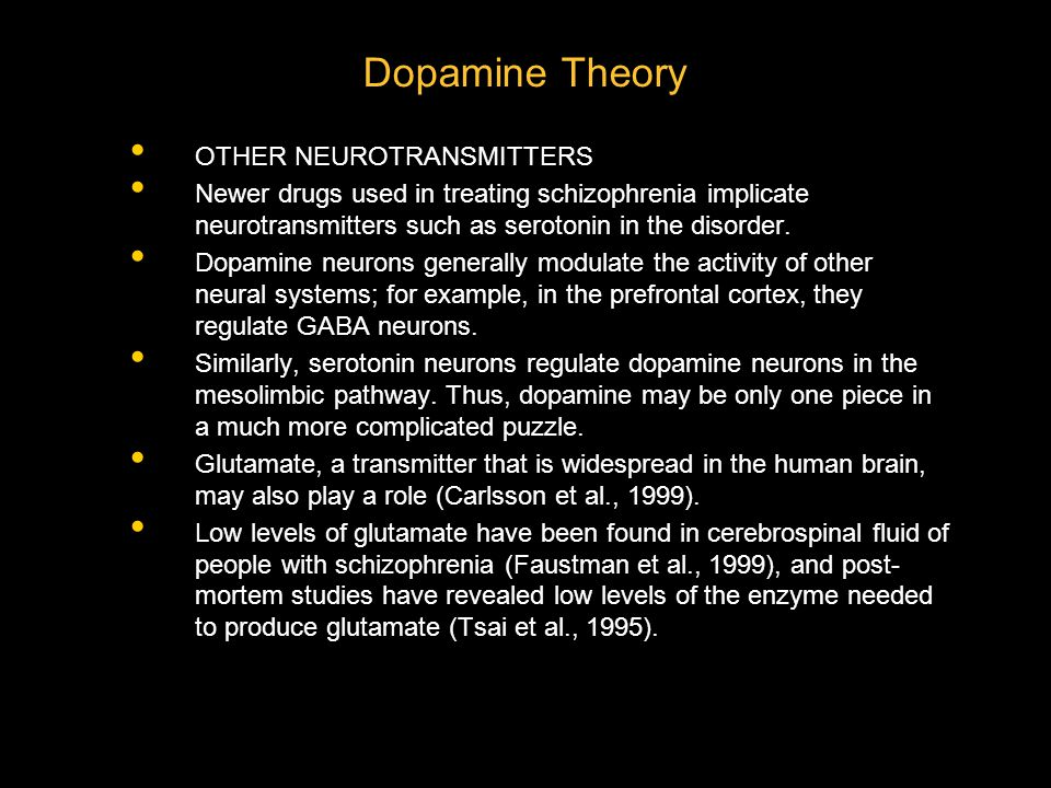 Dopamine Theory OTHER NEUROTRANSMITTERS