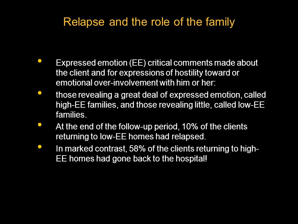 Relapse and the role of the family