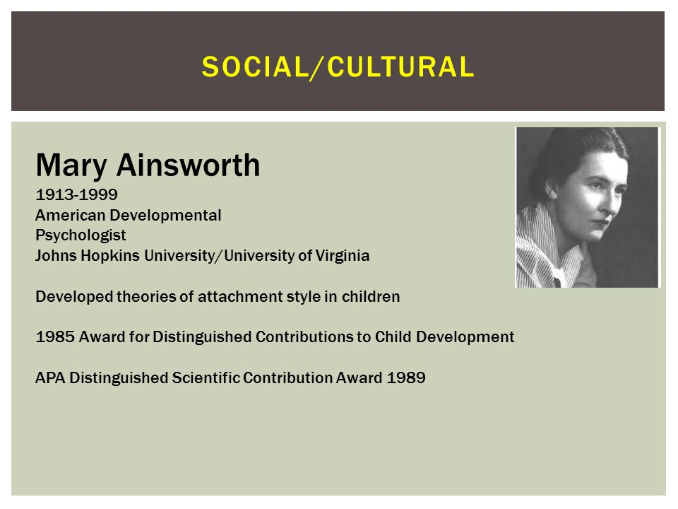 Mary Ainsworth Social/cultural 1913-1999 American Developmental