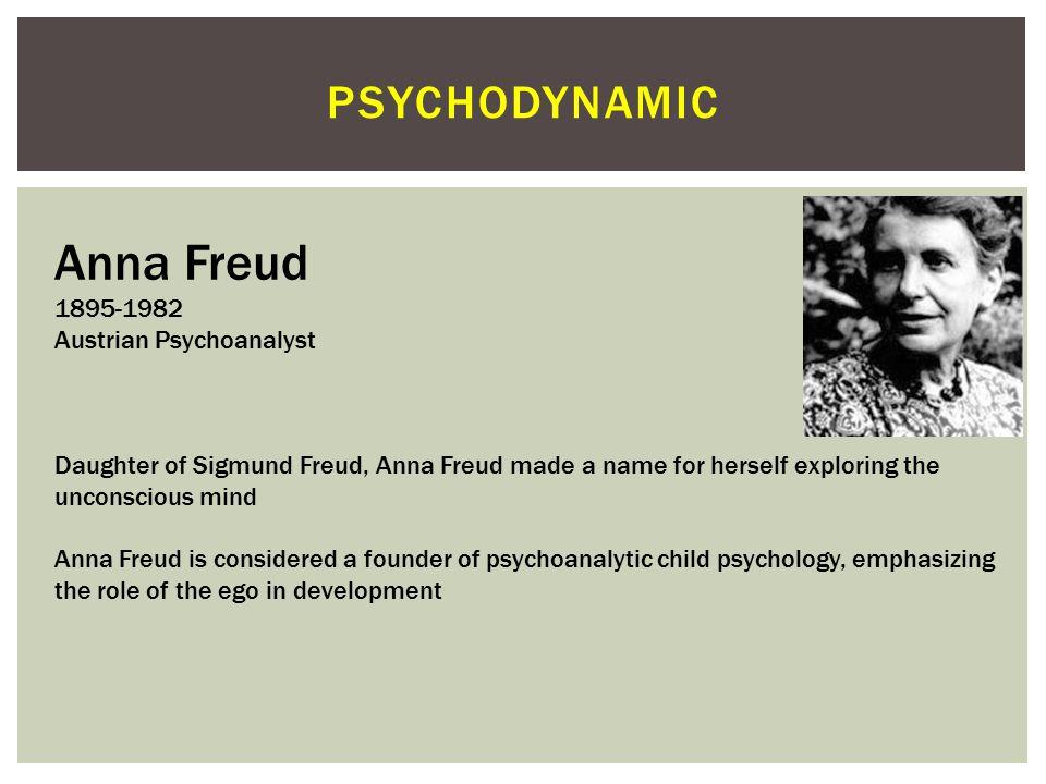 Anna Freud psychodynamic 1895-1982 Austrian Psychoanalyst