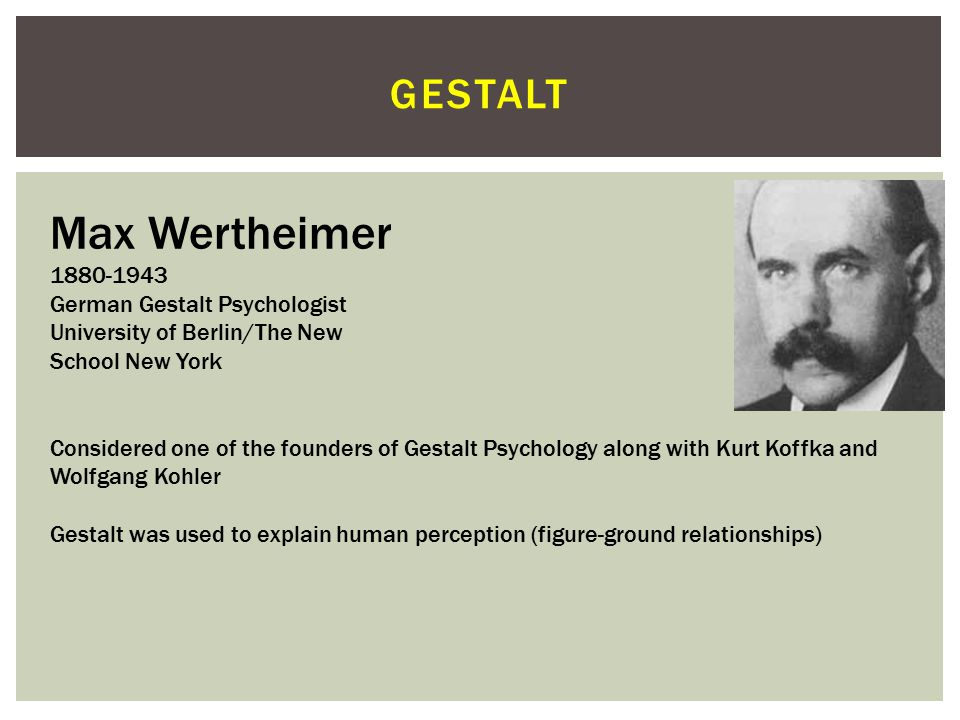 Max Wertheimer gestalt 1880-1943 German Gestalt Psychologist