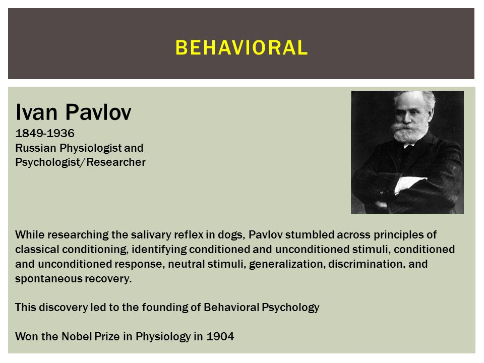 Ivan Pavlov Behavioral 1849-1936 Russian Physiologist and