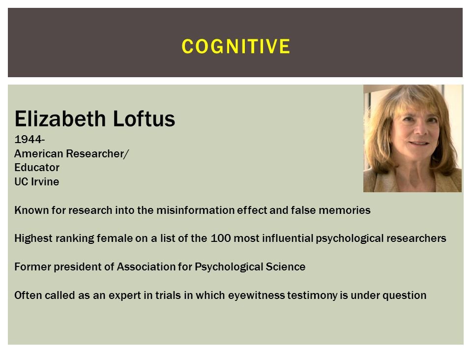 Elizabeth Loftus cognitive 1944- American Researcher/ Educator