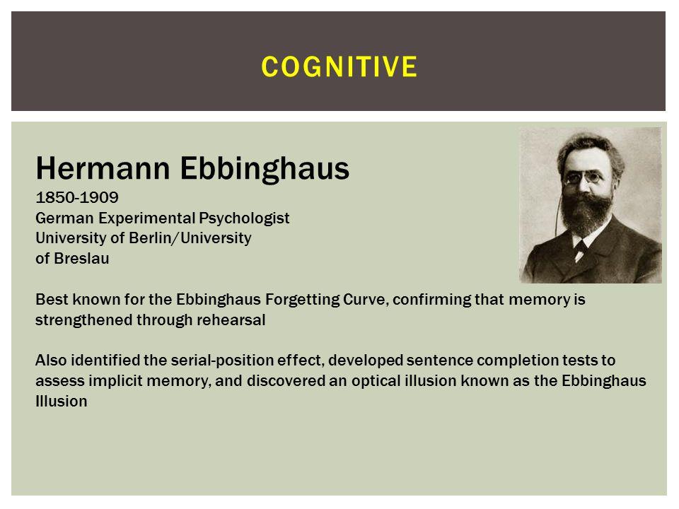 Hermann Ebbinghaus cognitive 1850-1909