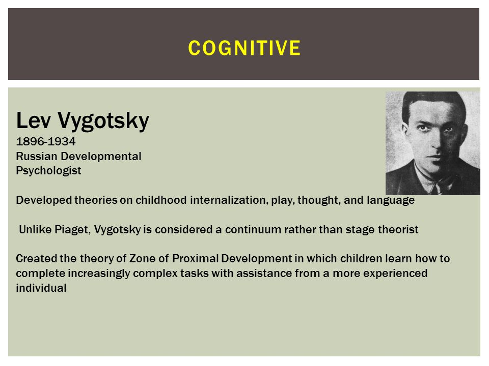 Lev Vygotsky cognitive 1896-1934 Russian Developmental Psychologist