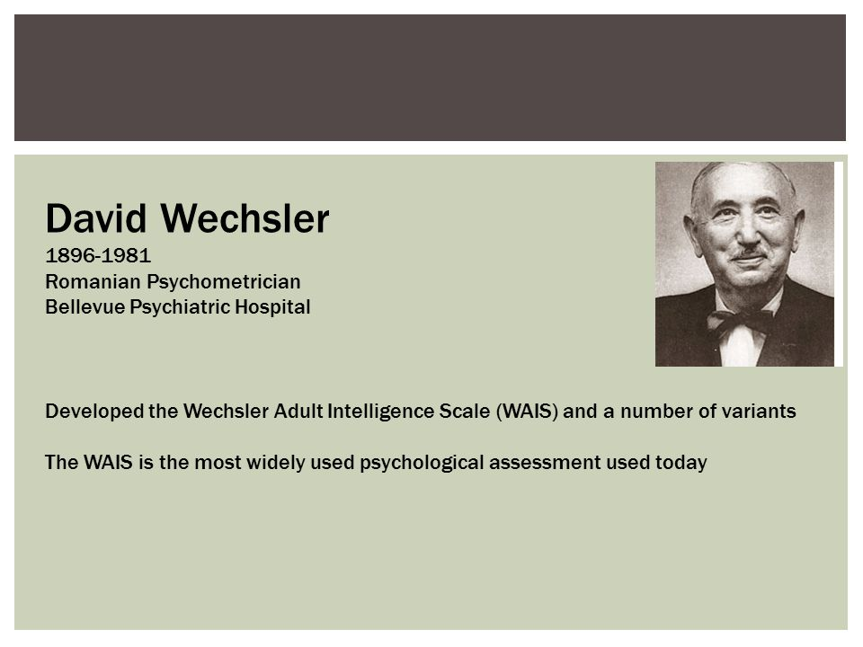 David Wechsler 1896-1981 Romanian Psychometrician