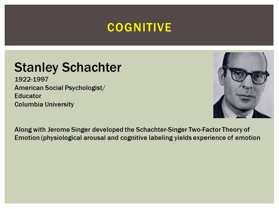 Stanley Schachter cognitive 1922-1997 American Social Psychologist/