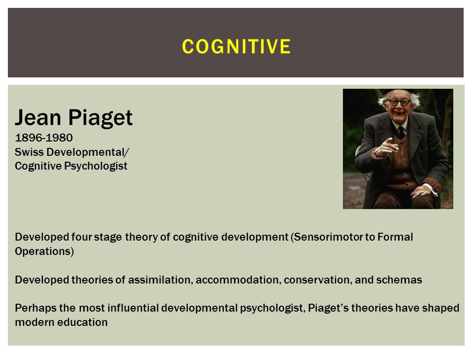 Jean Piaget cognitive 1896-1980 Swiss Developmental/