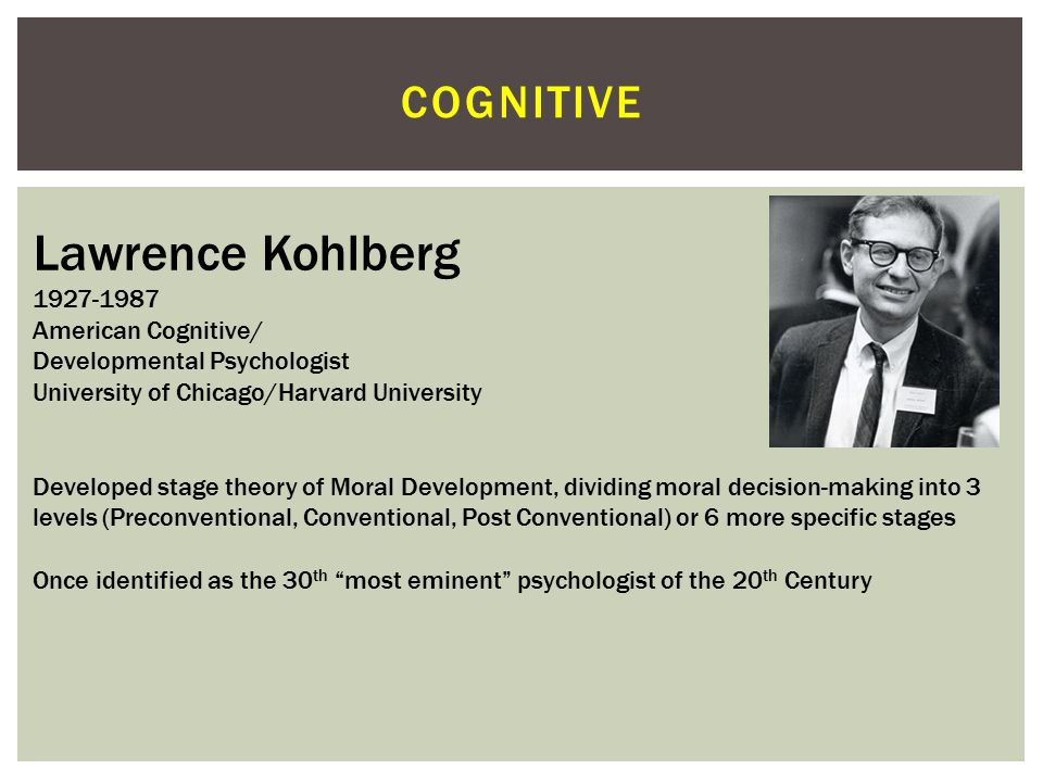 Lawrence Kohlberg cognitive 1927-1987 American Cognitive/